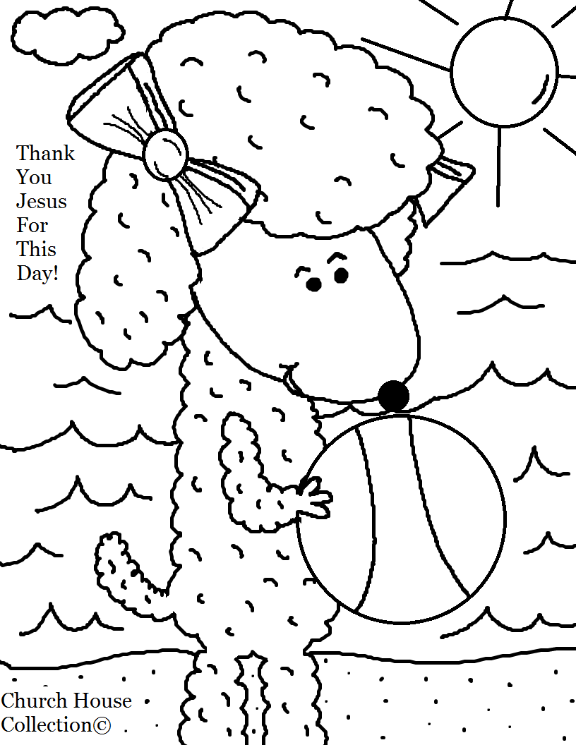sheep with beach ball summer coloring page