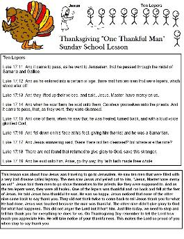 Thanksgiving Turkey Sunday School Lesson One Thankful Man Ten Lepers