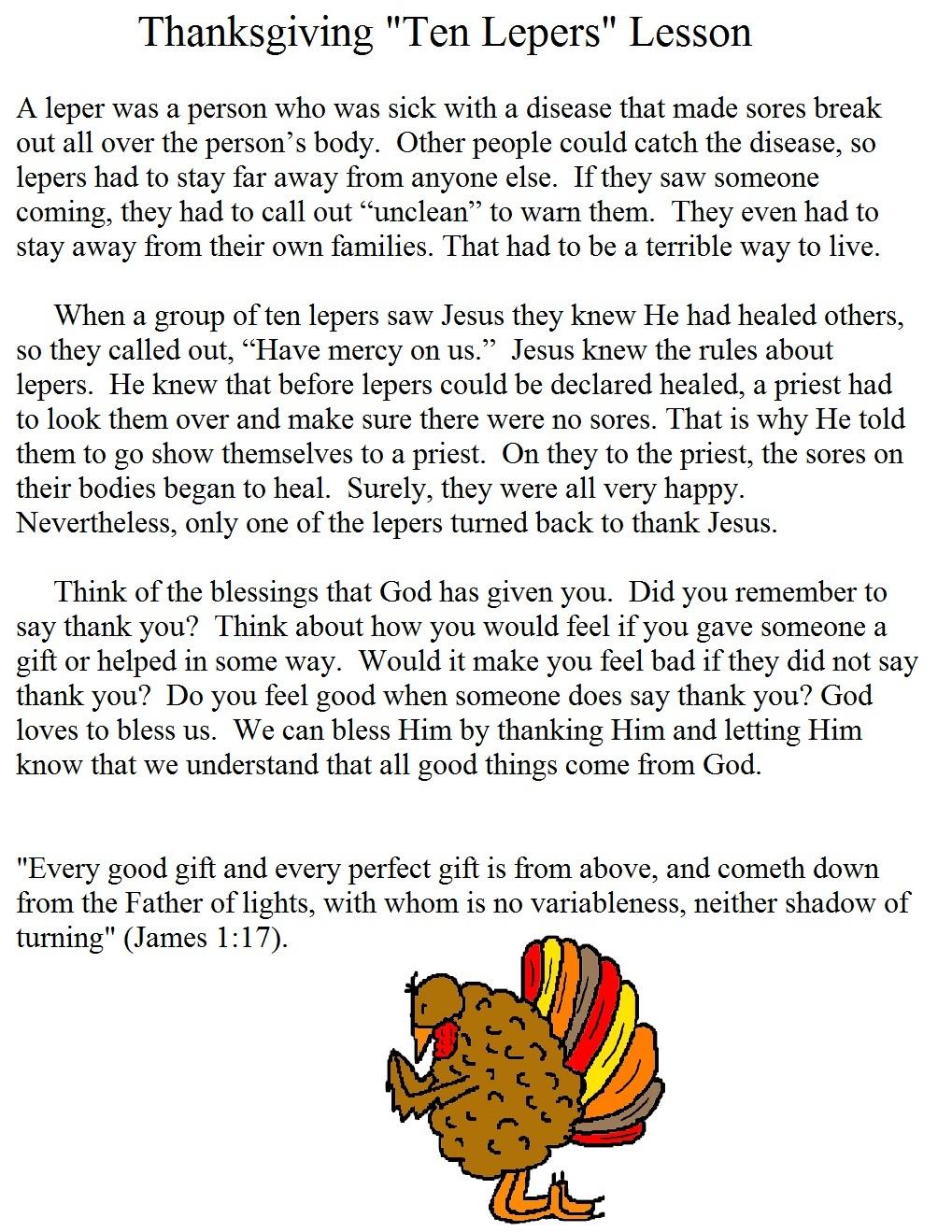 "Thanksgiving ""One Thankful Leper"" Sunday School Lesson"