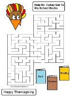 Thanksgiving Turkey Mazes by Church House Collection- Printable Turkey Mazes for Preschool kids