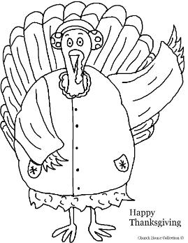Turkey Wearing a coat and earmuffs coloring page- Thanksgiving Turkey Coloring pages