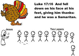 Thanksgiving Turkey One Thankful Man Ten Lepers Clipart Luke 17:16