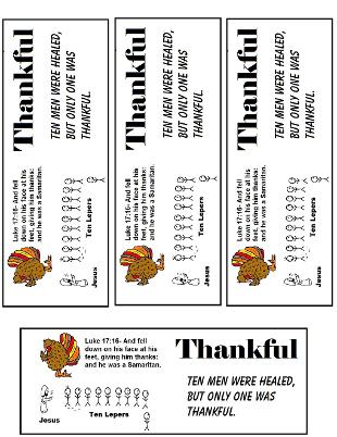 Thanksgiving Turkey One Thankful Man ten lepers bookmarks