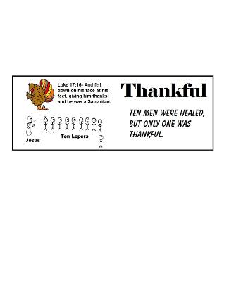 Thanksgiving Turkey One Thankful Man ten lepers bookmark