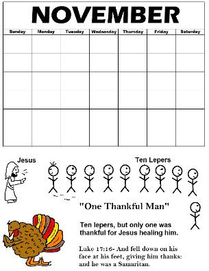 Printable Thanksgiving Calendar Ten Lepers One Thankful Man Turkey