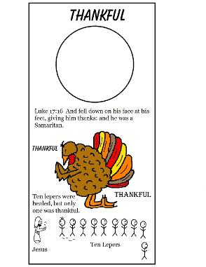Thanksgiving Turkey One Thankful Man Ten lepers doorknob hanger craft