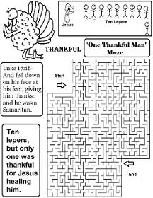 Thanksgiving Turkey One Thankful Man Ten Lepers Maze