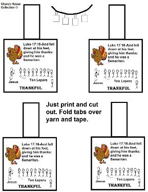 Thanksgiving Turkey One Thankful Man Ten Lepers Necklace Template