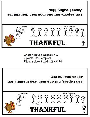Thanksgiving Turkey Ziplock Bag Template Ten lepers One Thankful Man