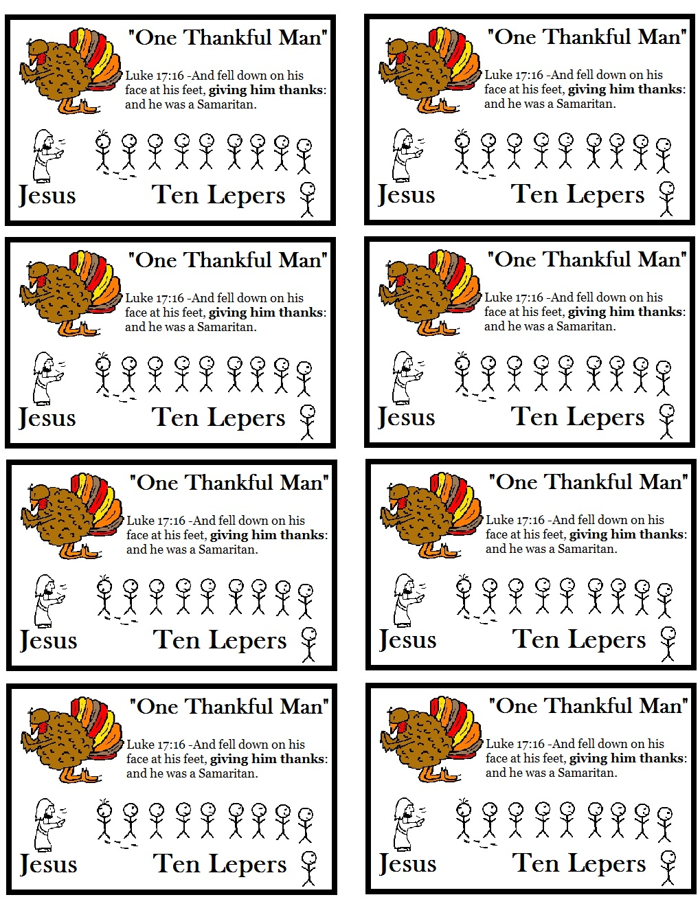 Thanksgiving Quot One Thankful Leper Quot Sunday School Lesson