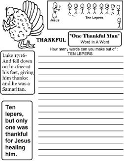 Thanksgiving Word in a word sheet