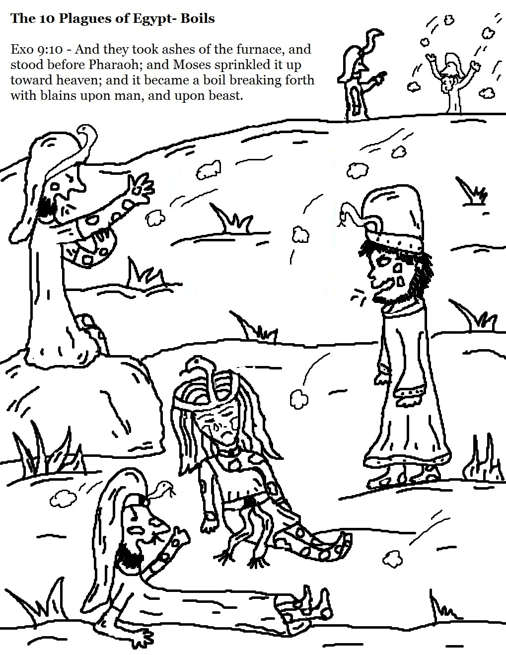 Coloring pages for 9 and up - The 10 Plagues Of Egypt Boils