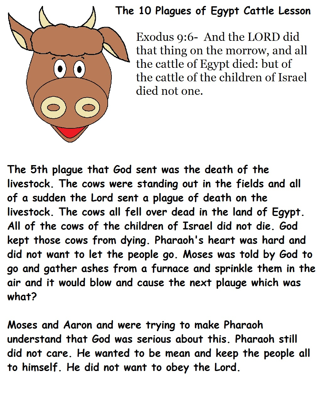 the 10 plagues of egypt livestock lesson