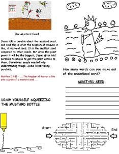 The parable of the mustard seed wild card sunday school lesson activity sheet for kids