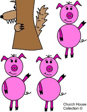 The Three Little Pigs and the big bad wolf clipart