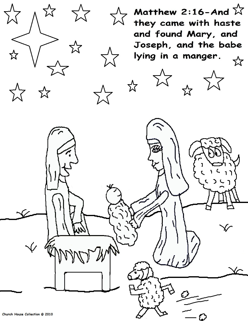 "Free Christmas ""The Birth Of Jesus"" Coloring Pages For Kids by Church House Collection"