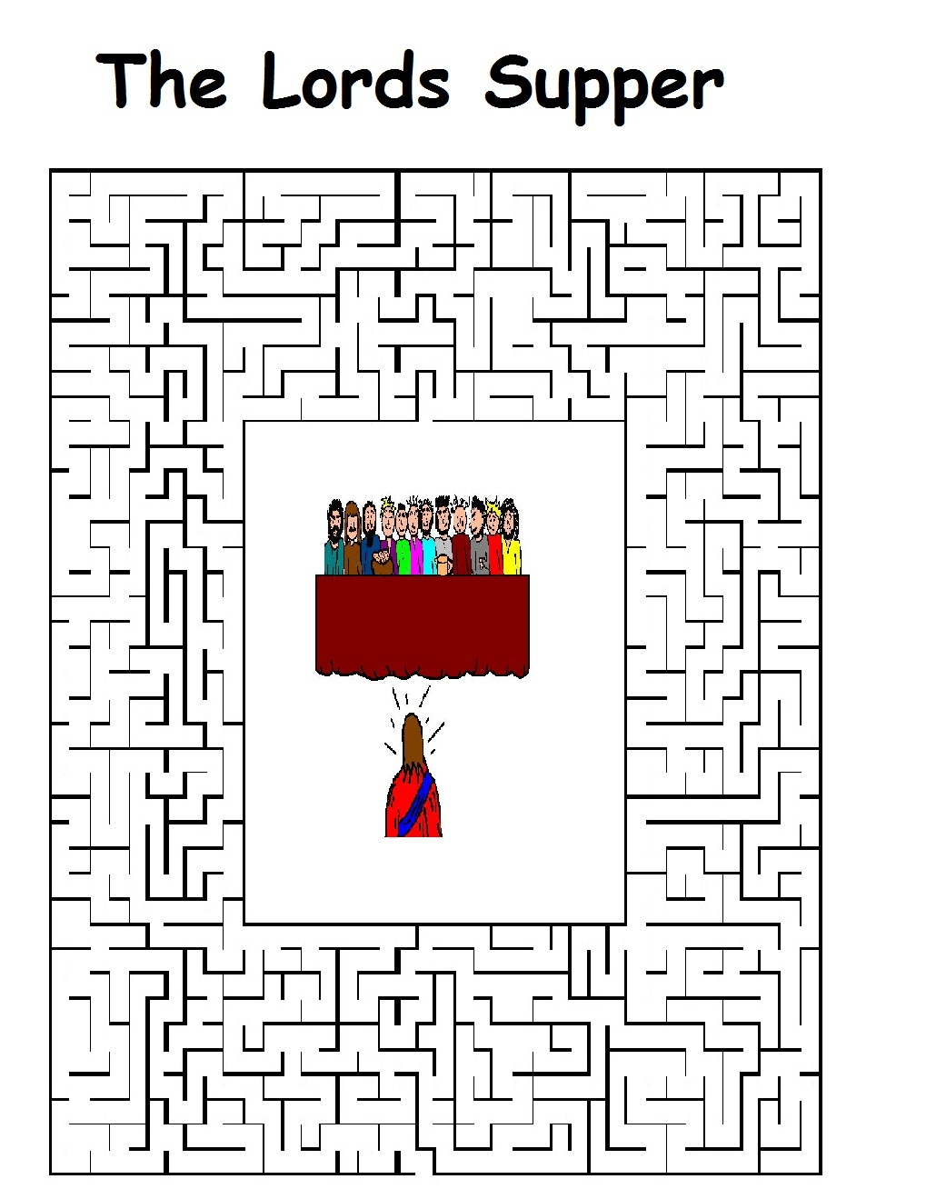 Printable coloring pages last supper - Maze Printable Version