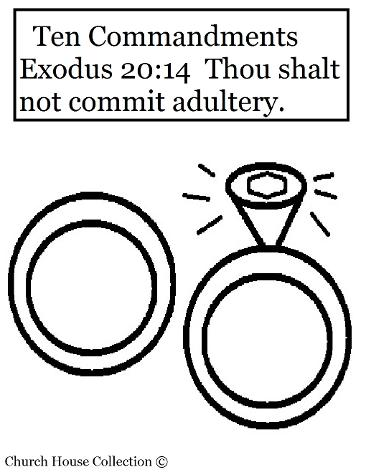 Thou shalt not commit adultery coloring page for ten commandments wedding rings