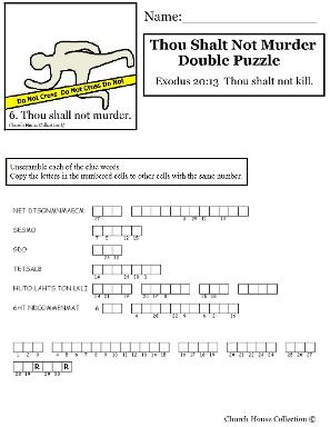 Thou Shalt Not Murder Double Puzzle for Ten Commandments