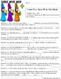 Three WIse Men Fill in the blank activity sheet for kids for Children's Church Christmas KJV