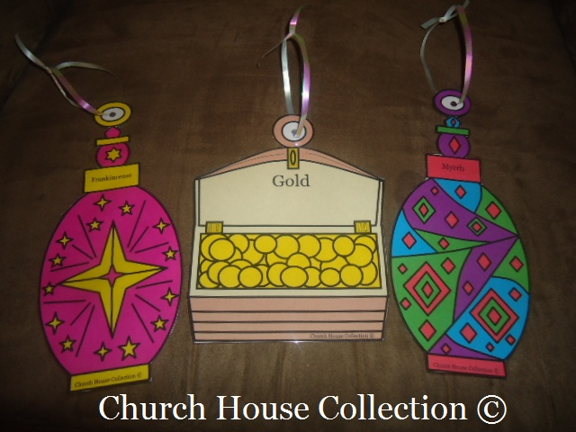 Free Christmas Sunday School Crafts For Kids by Church House Collection - Gold Frankincense and Myrrh Cutout Crafts For Ornaments