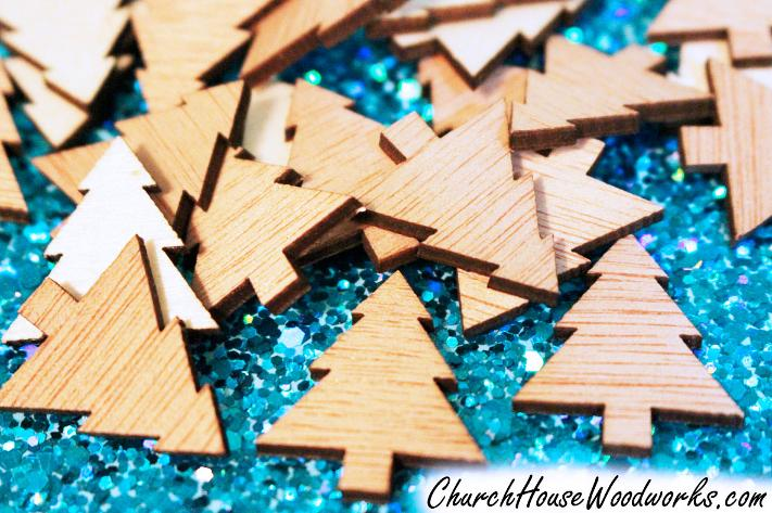 Mini Wood Christmas Tree Ornaments for DIY Christmas Wreaths or Christmas Villages