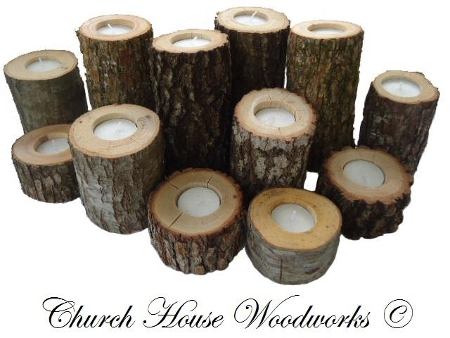 Rustic Wood Candle Holders by Church House Woodworks