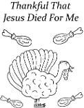 Thankful That Jesus Died For Me Turkey Coloring Page