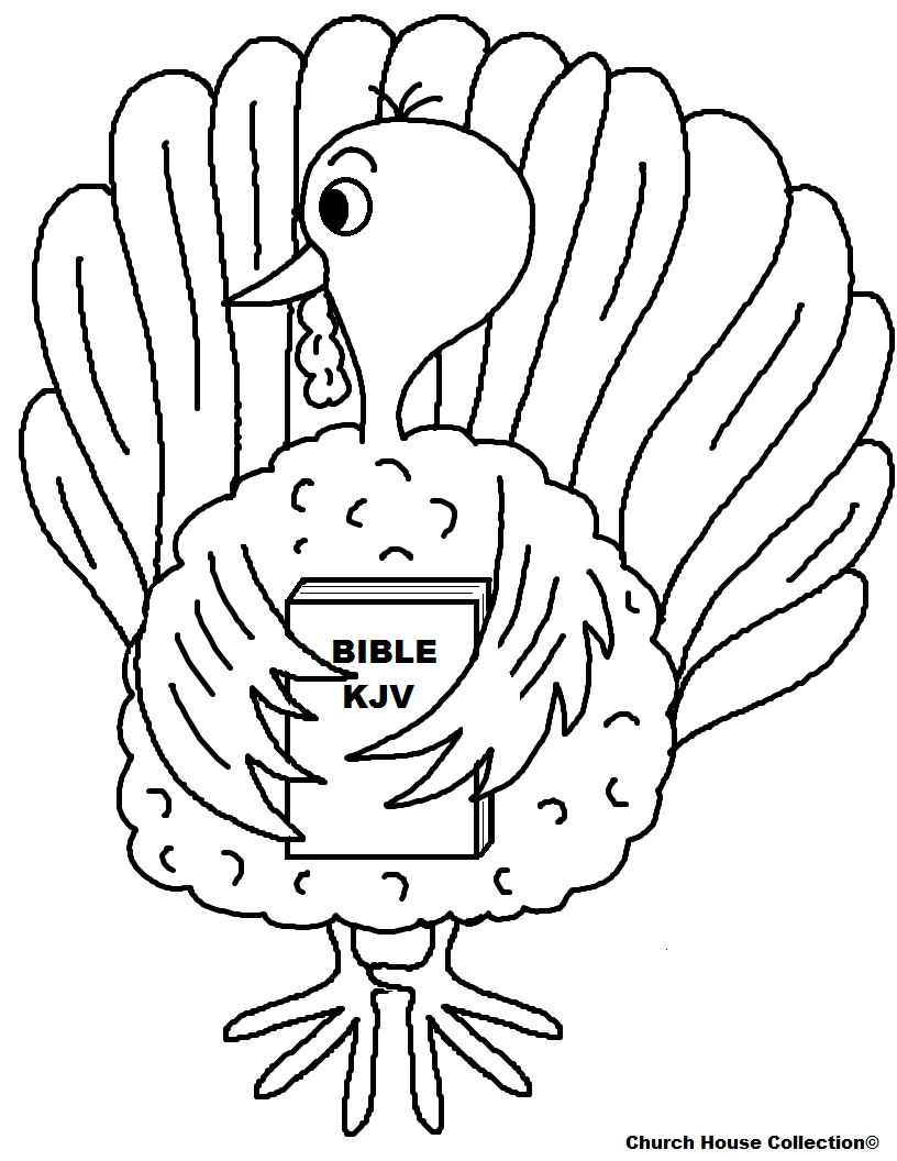 Free Turkey Thanksgiving Coloring Pages For Kids In Sunday School or Children's Church by Church House Collection