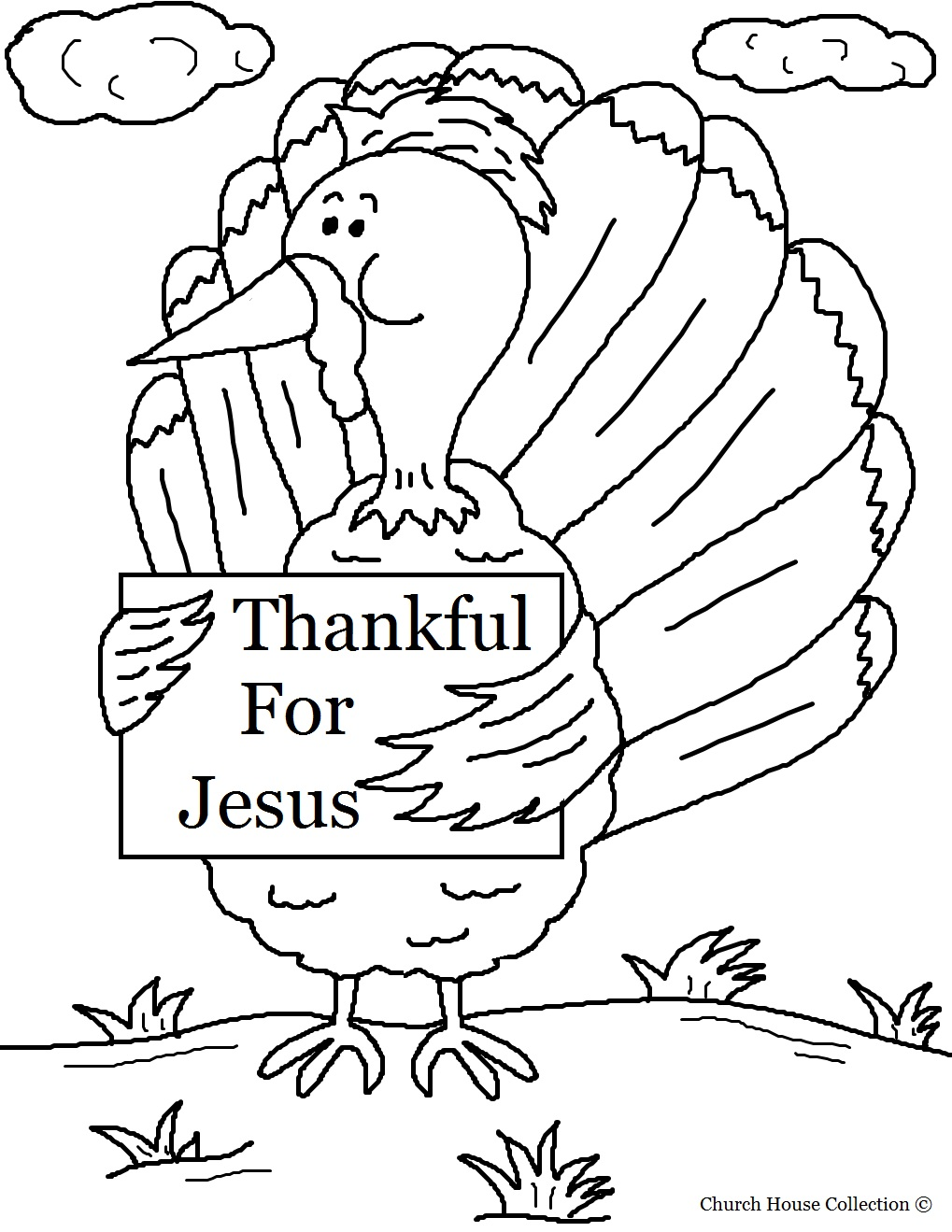 thanksgiving coloring pages for children s church turkey holding sign thankful for jesus coloring page