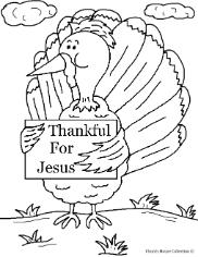 Thanksgiving Turkey Holding A sign Thankful for Jesus Coloring page