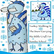 Blue Thanksgiving Turkey Sunday School Lesson for Kids | Church House Collection | ChurchHouseCollection.com Printable Turkey Blue Turkey Cold Frozen Walking in snow winter carrying bible toilet paper roll craft cut out template free kids printable