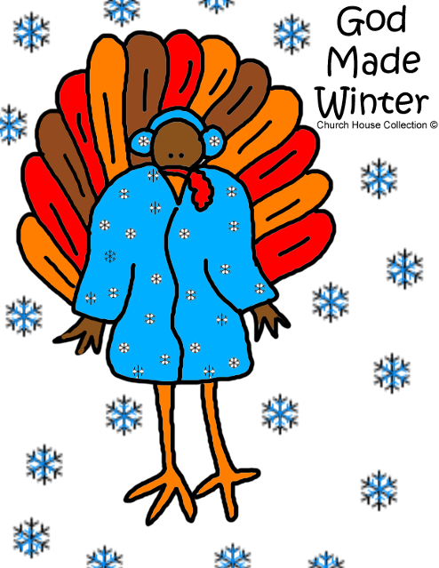 Turkey Wearing Winter Coat Earmuffs Snow Snowflakes God Made Winter Turkey Coloring Pages Free Printables sheets Sunday school children's Church kids