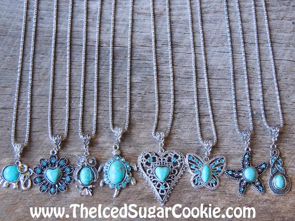 Turquoise Necklaces Elephant, Owl, Turtle, Heart, Butterfly, Starfish, by The Iced Sugar Cookie. Jewelry for girls and women.