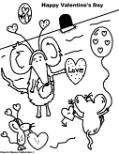 Happy Valentine's Day Coloring Pages Mice With Hearts and Balloons