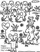 Happy Valentine's Day Coloring pages Teddy Bears With Roses and Balloons
