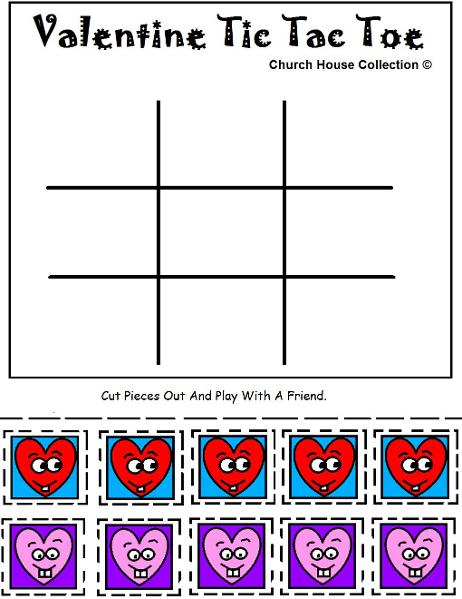 Valentine's Day Tic Tac Toe Game Ideas for Sunday School or Children's Church by ChurchHouseCollection.com