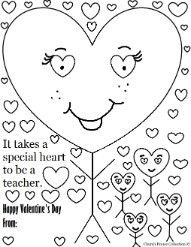 Valentine's Day Coloring page for teacher- My teacher is special coloring pages