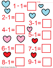 Valentine's Day Math Worksheets For Kids. Addition and Subtraction.
