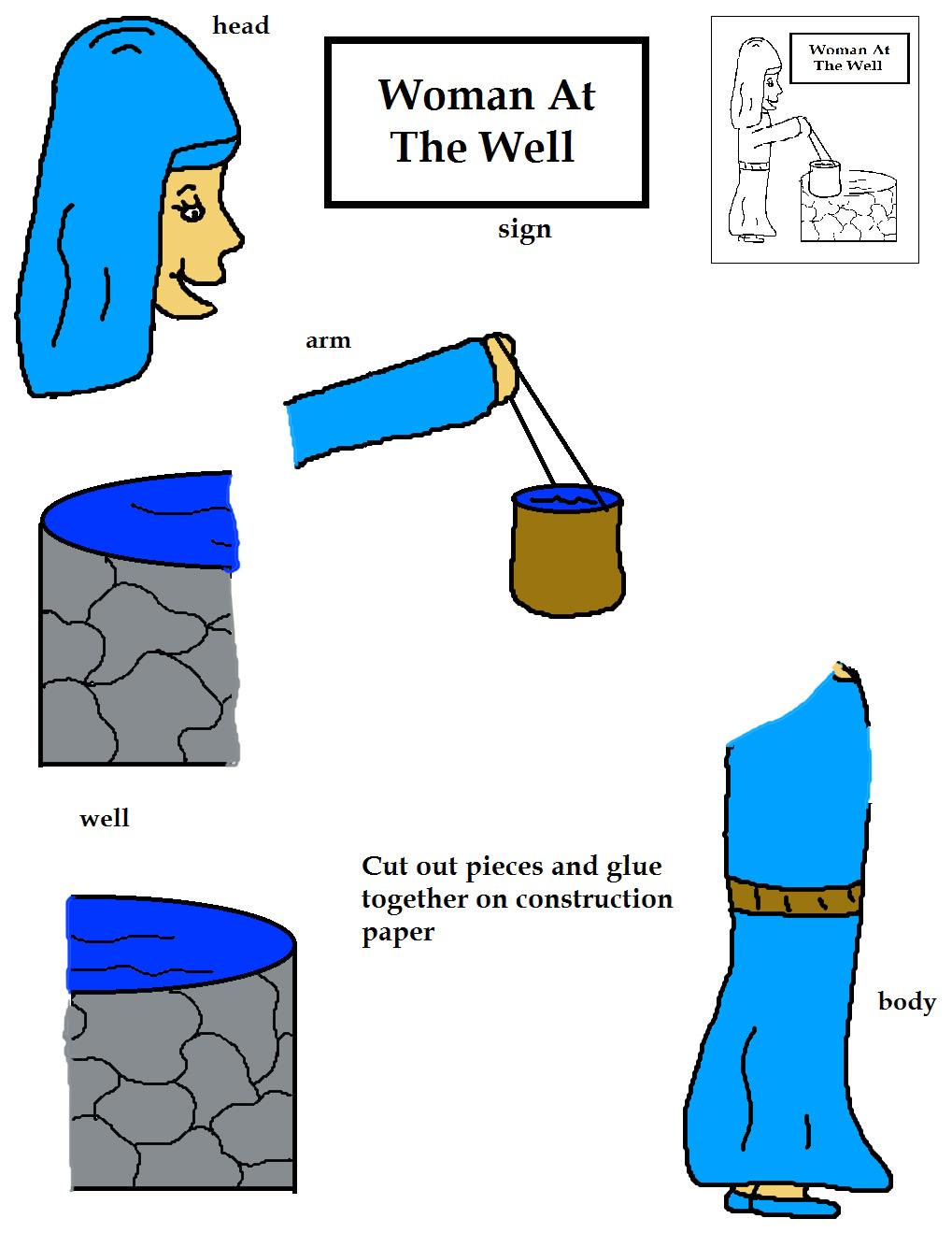 Sunday School Coloring Pages - Woman At The Well | 1319x1019