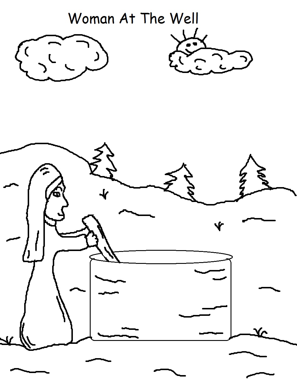 Printable coloring pages woman at the well - Woman At The Well Coloring Page
