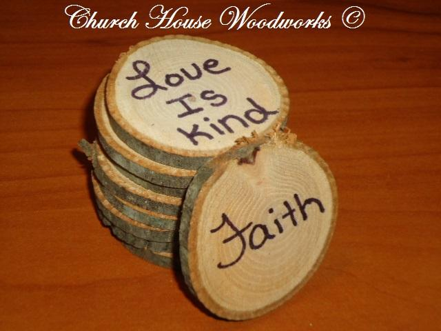 Rustic Wood Slices For Crafts- Love Is Kind, Faith...By Church House Woodworks- Use Wood Slices for Decorations at Birthday Party Events or Rustic Weddings.