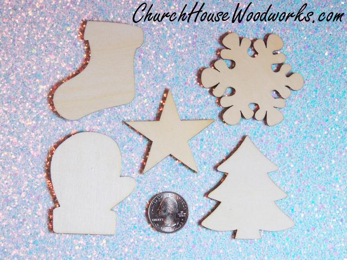 Wood Christmas Ornaments- Stocking, Snowflake, Star, Mitten and Christmas Tree
