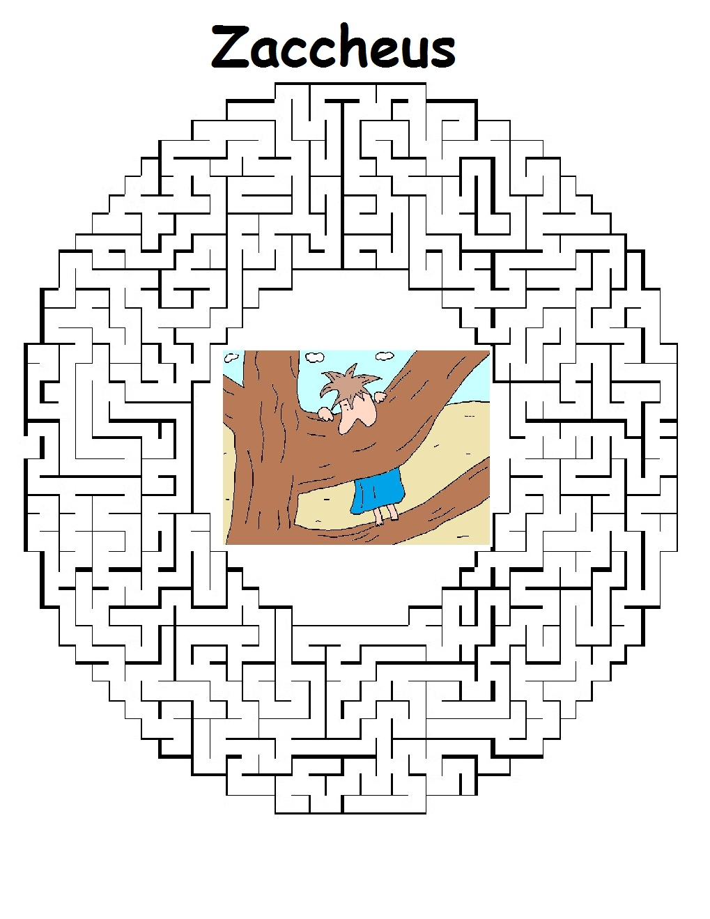 Coloring pages zacchaeus - Maze Printable Version