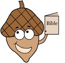 Acorn Sunday School Lesson Plan. Acorn holding a Bible in his hands. Fall Sunday School Lessons for Free by Church House Collection