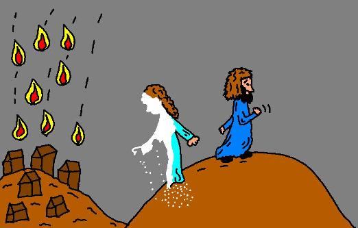 Lot's wife turned into a pilllar of salt clipart picture