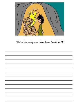 Daniel in the lions den activity sheet for kids printable page