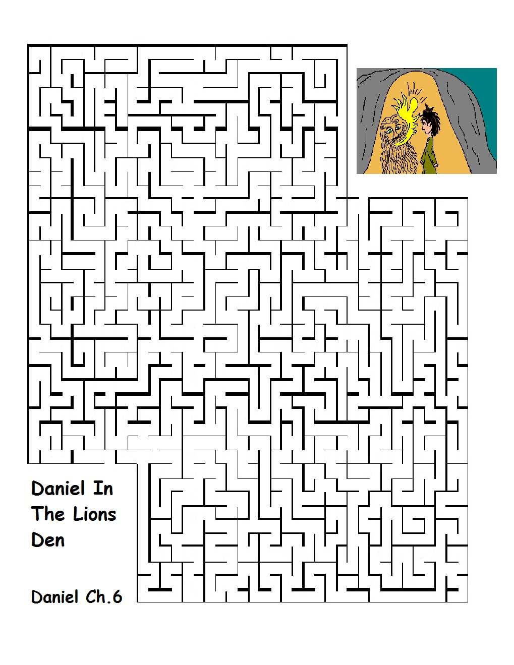 Daniel In The Lions Den Maze Printable Version