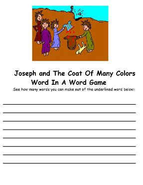 Josephs Coat of Many Colors Word In Word