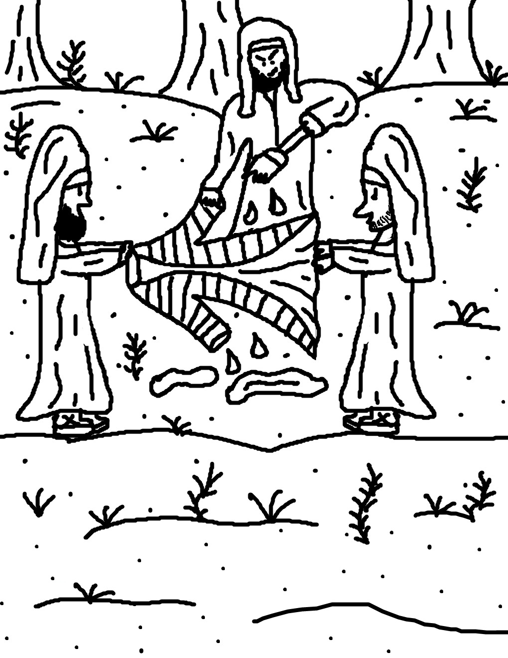 Josephs Brothers Smearing Blood On Coat No Scripture Coloring Pages